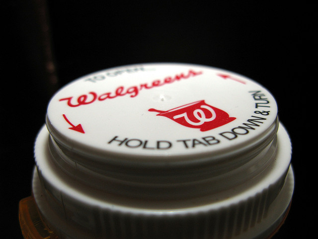A safety cap on a pill bottle