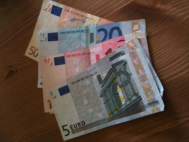 Euros on a table