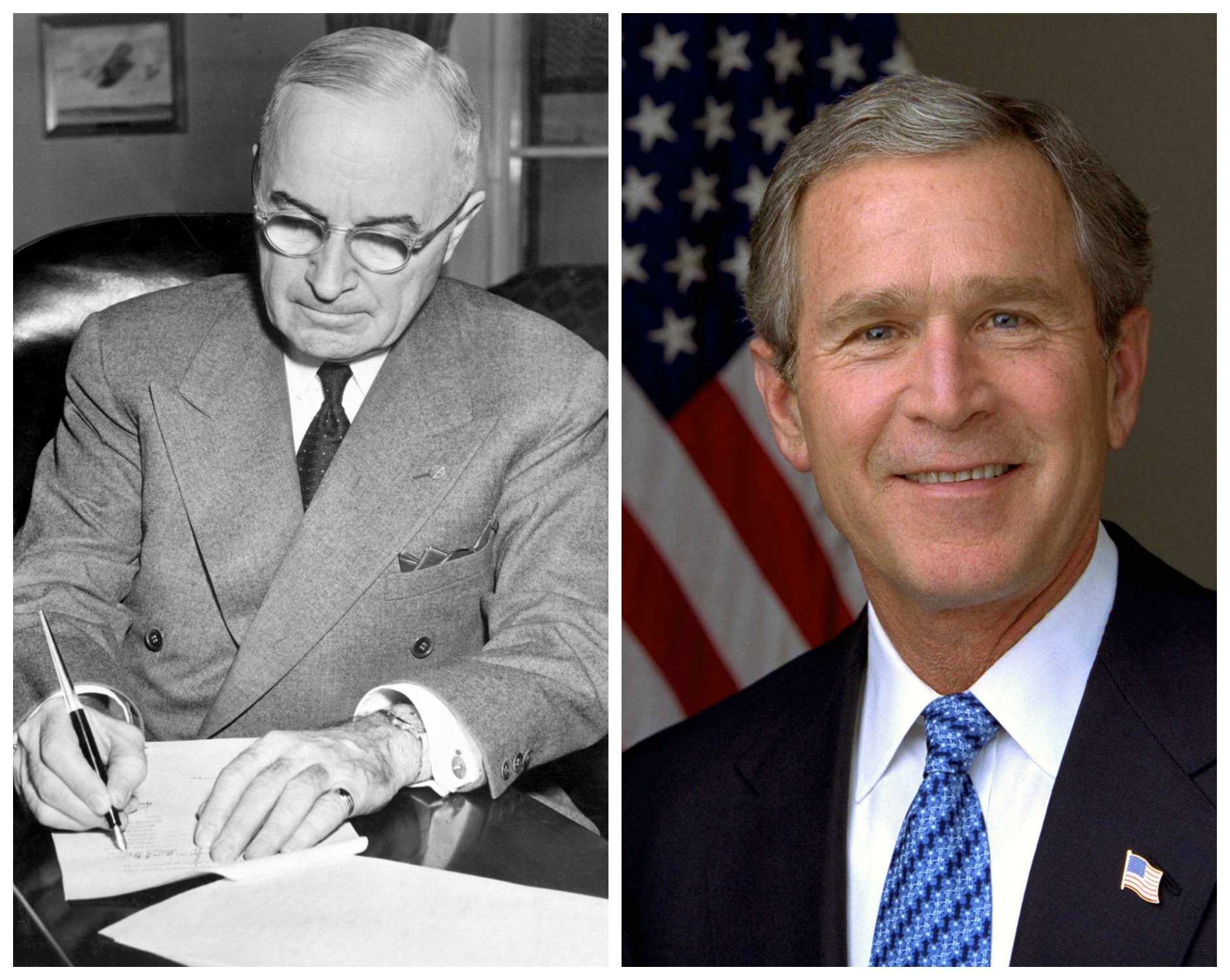 Harry Truman in one picture, and George W. Bush in the other
