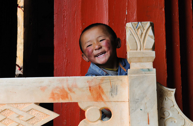A happy Chinese child smiling