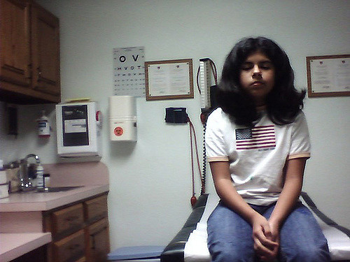 A young girl at a doctor's appointment