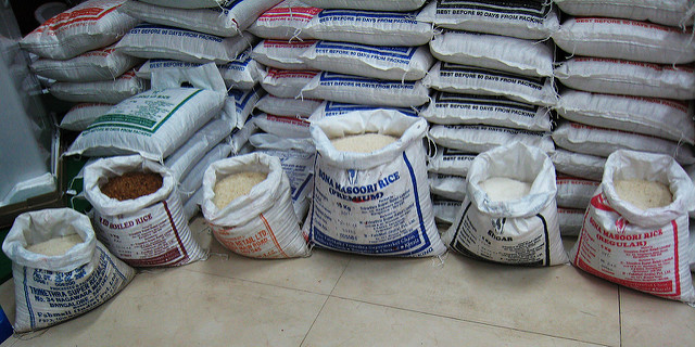 Bags of various types of rice