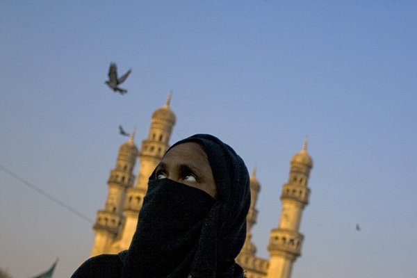 A woman in a burka