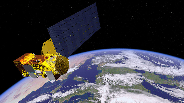 An artist's rendering of NASA's Aqua Satellite