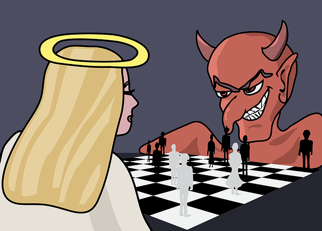 The devil and an angel playing chess with human pawns