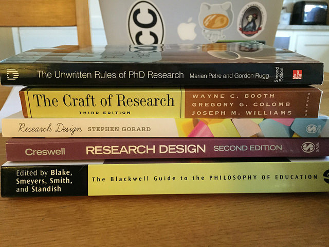 A pile of books about research