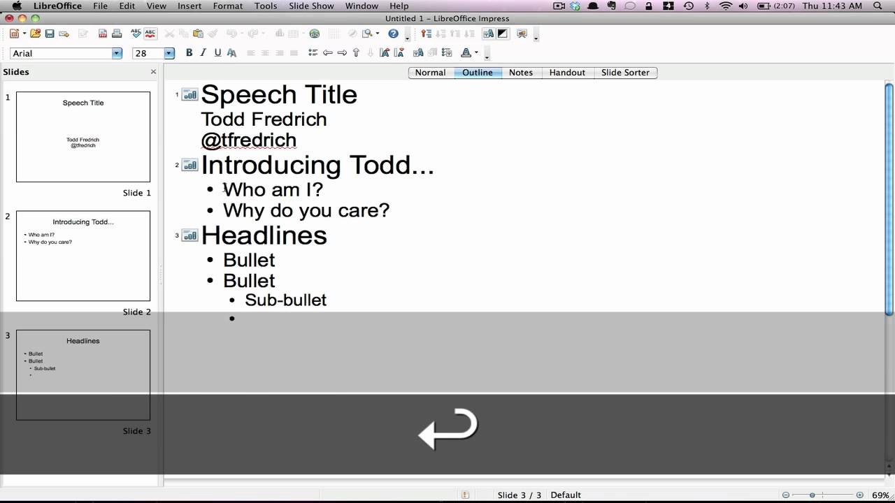 Screenshot from a youtube video that explains how to build a power point