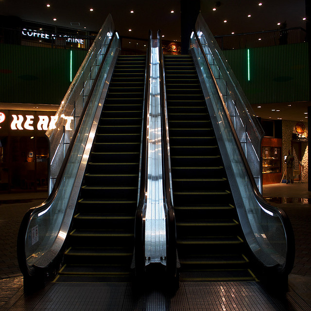 An escalator next to an escalator demonstrates