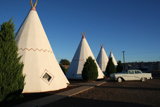 Teepees in a parking lot