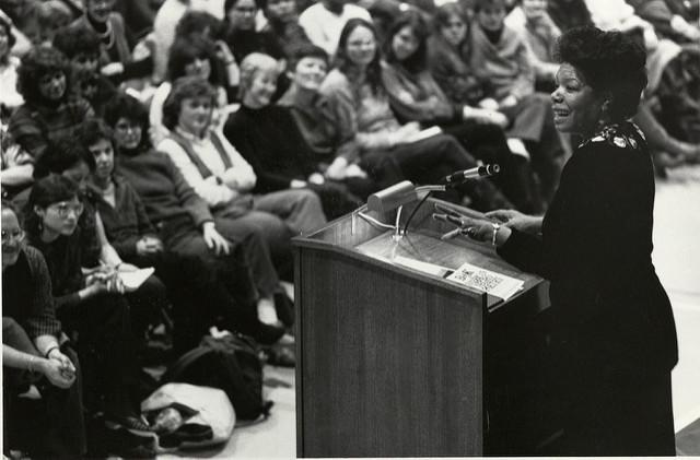 Maya Angelou speaking at Burns Library at Boston College