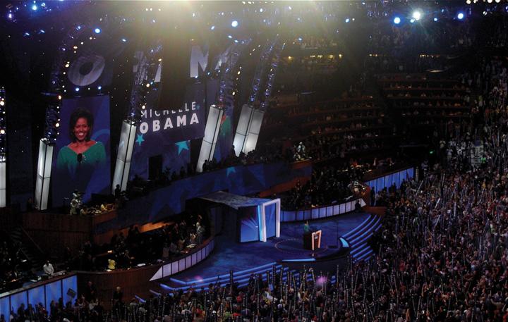 Michelle Obama addresses delegates.