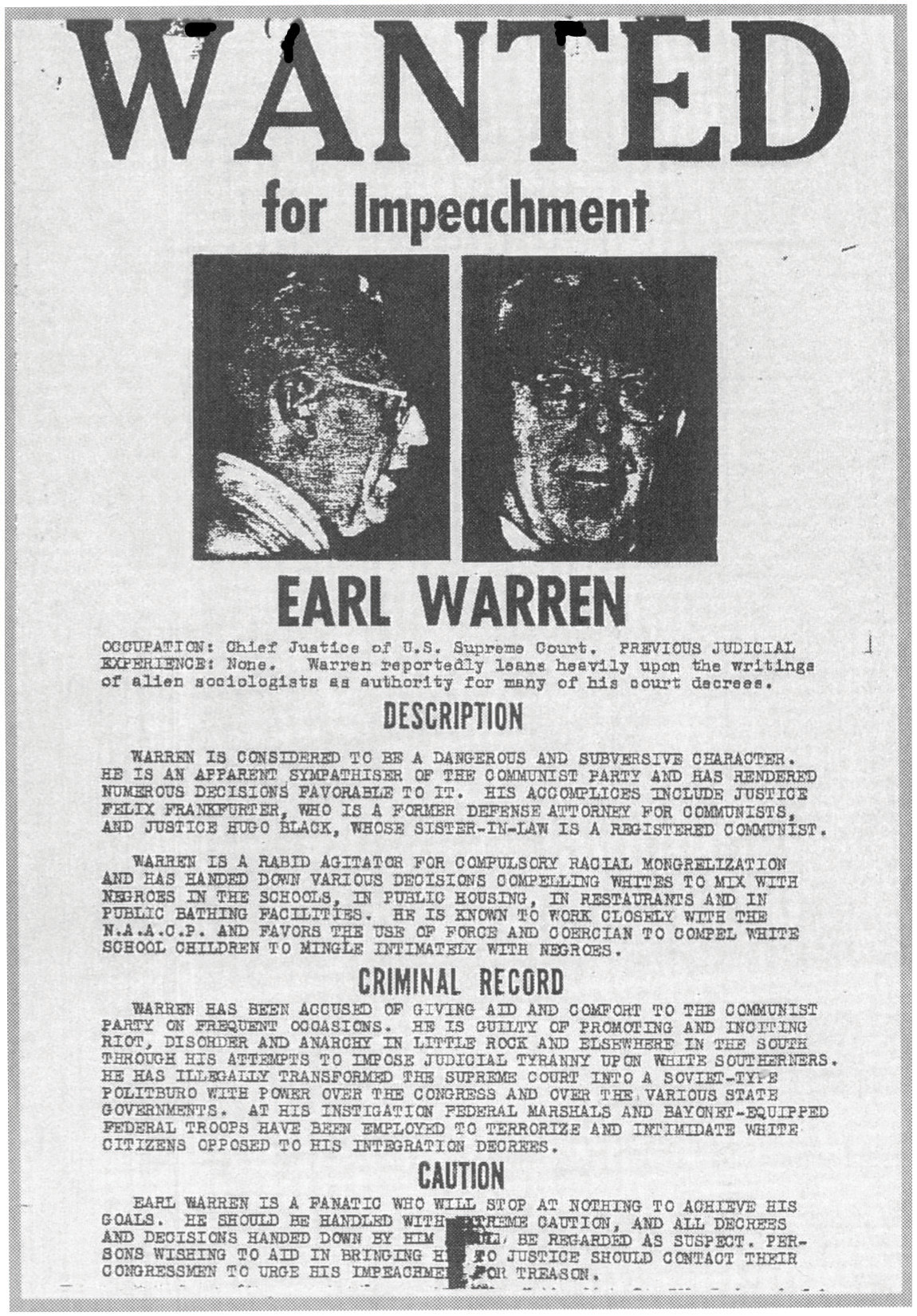 A wanted for Impeachment poster for Earl Warren