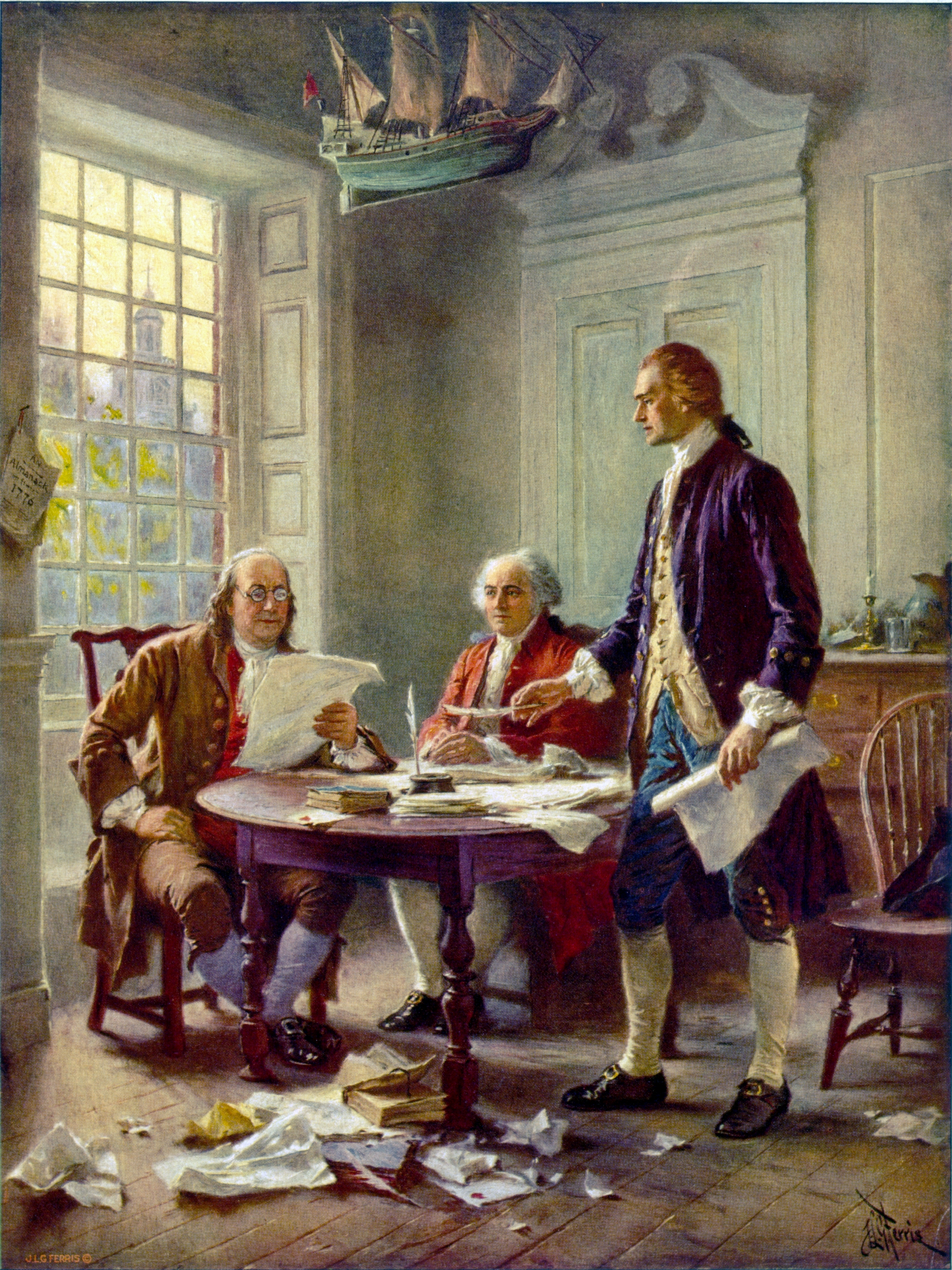 Thomas Jefferson, John Hancock, and Benjamin Franklin reading over the declaration of independence