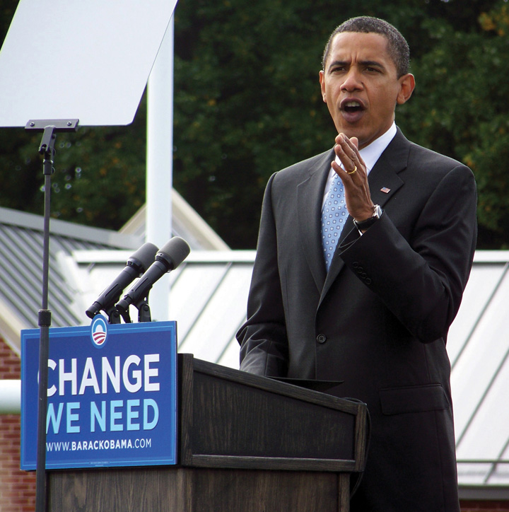 President Barack Obama speaking at a rally, his slogan was