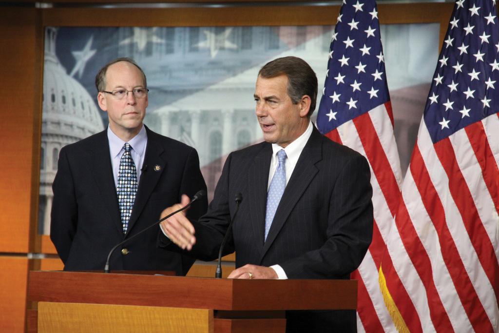 John Boehner speaking infront of a crod