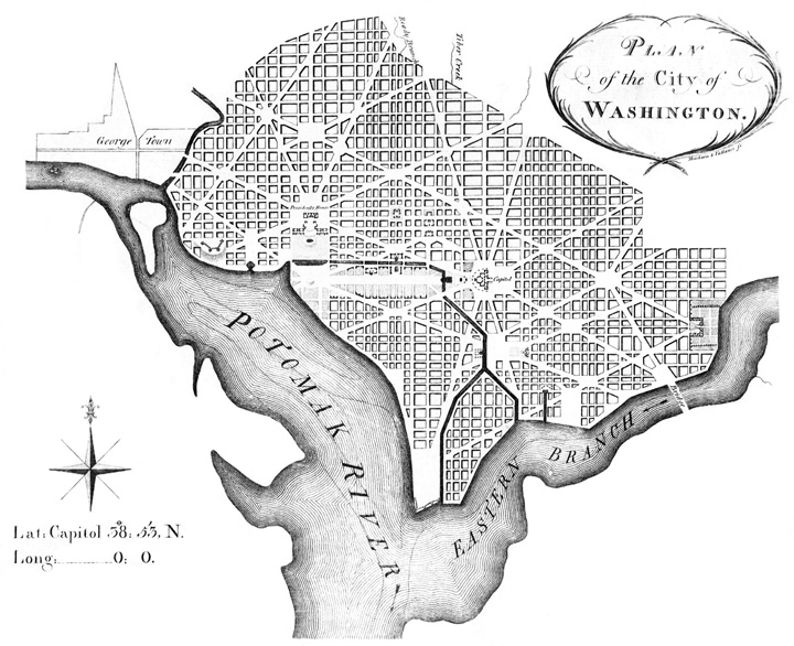 Plan of the City of Washington between the Potomak River and it's Eastern Branch