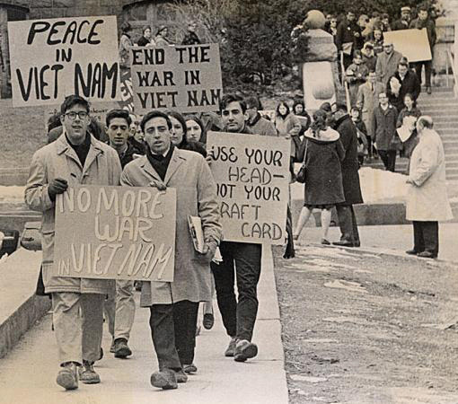 Student activists in the 1960s protesting against the US's involvement in the Vietnam War.