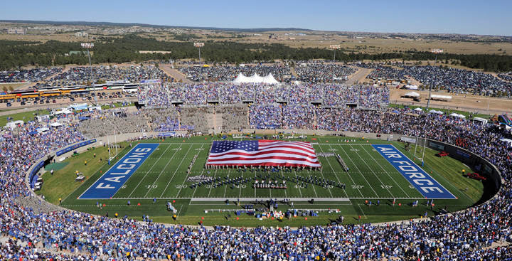 A football game featuring the Falcons vs the Air Force