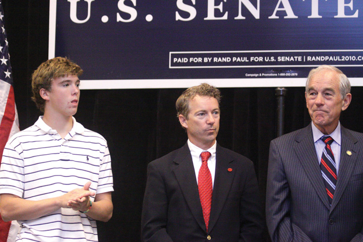 Rand Paul at his victory celebration in 2010
