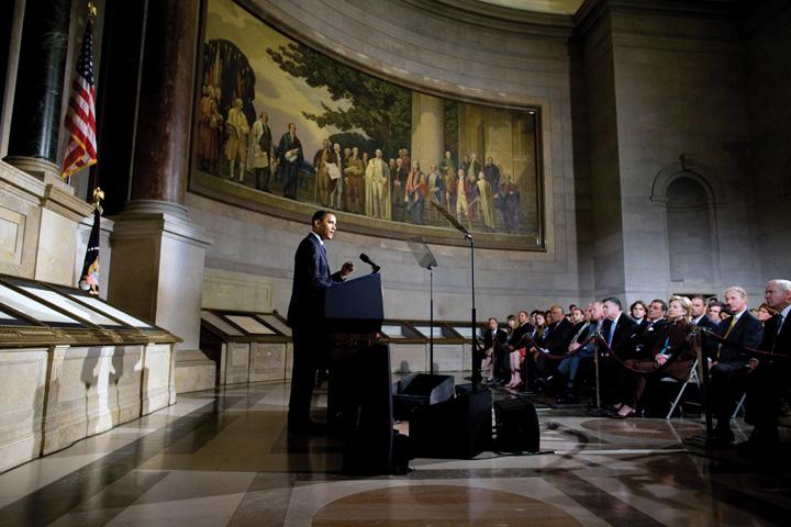 President Barack Obama speaking at the White House