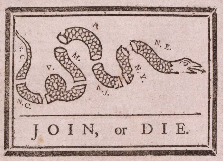 Franklin's Join, or Die. The poster features a severed snake