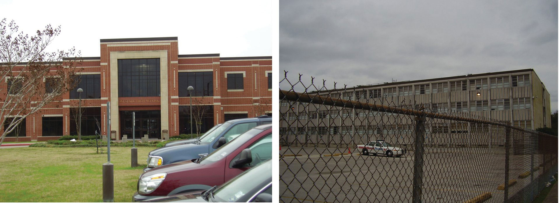 Westside High School in Houston (a very nicely established school) and Lee High School in Houston (surrounded by a fence)