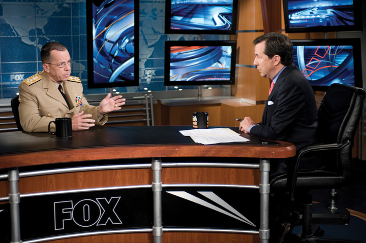 Adm. Mike Mullen, chairman of the Joint Chiefs of Staff, is interviewed by Chris Wallace host of Fox News Sunday