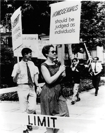 Lesbian and gay activists picketing in from of the White House in 1965