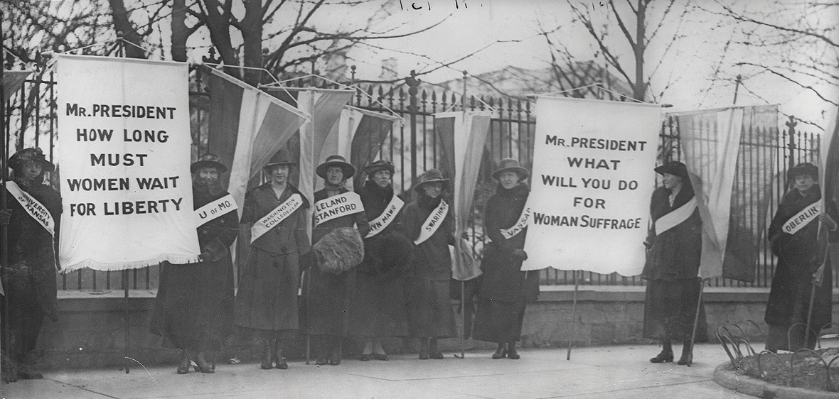 Women picketing in front of the White House embarrassed President Woodrow Wilson during World War I They pointed out that his promise