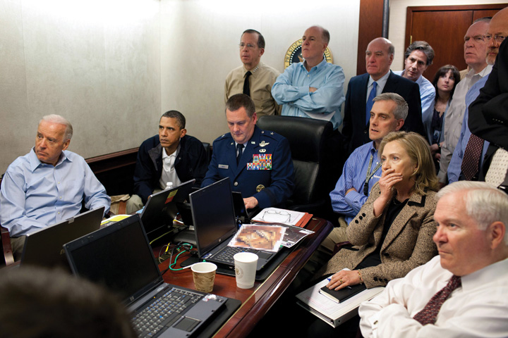 The White House being debriefed on the Death of Osama bin Laden