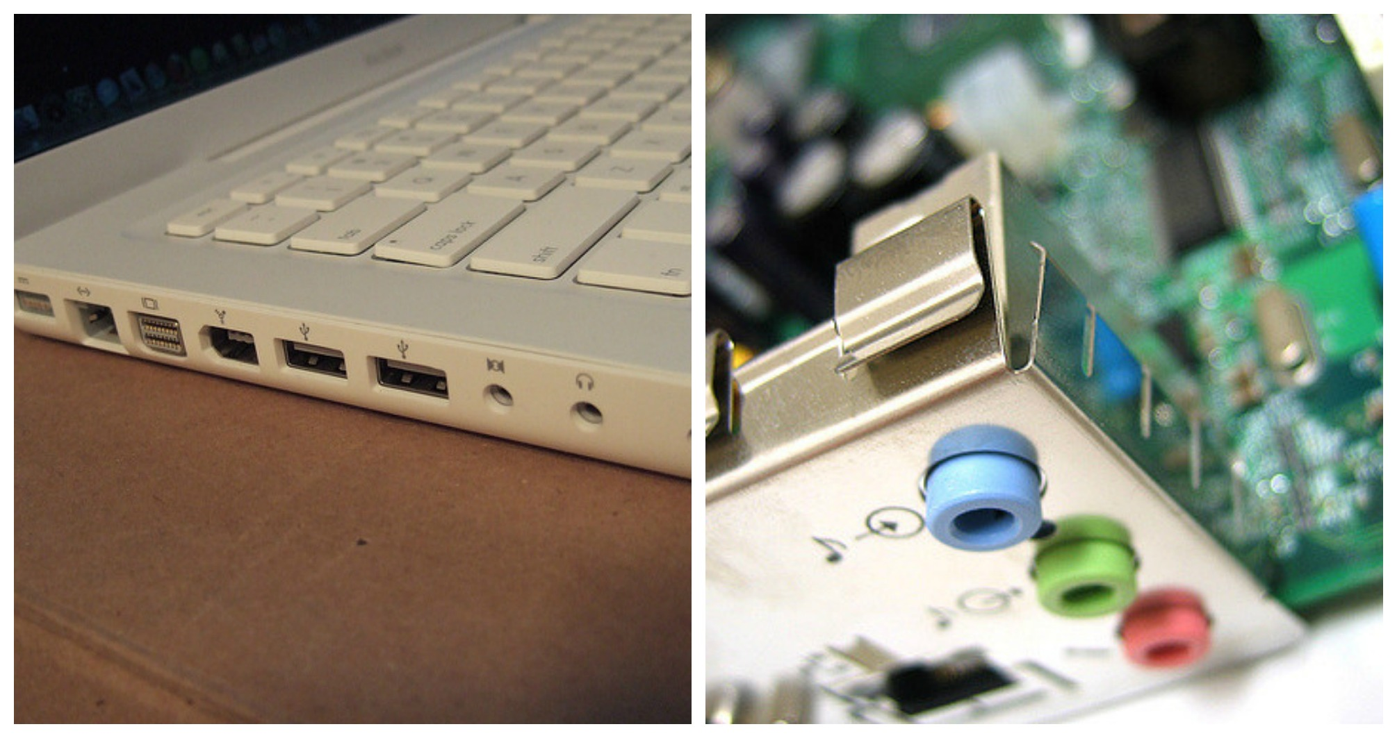 Audio Ports on an Apple Macbook and a disassembled PC