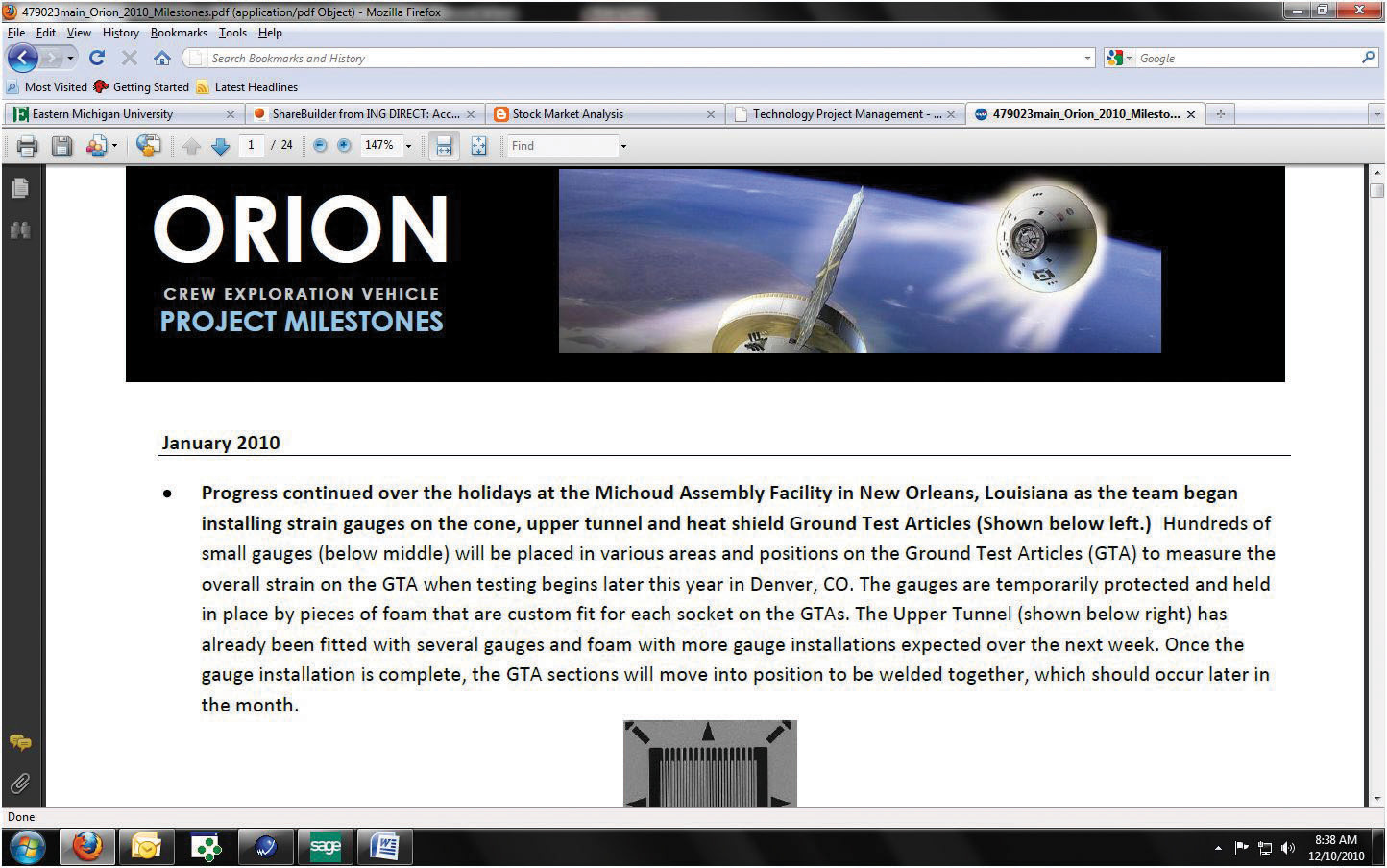 Orion Milestone from NASA's homepage