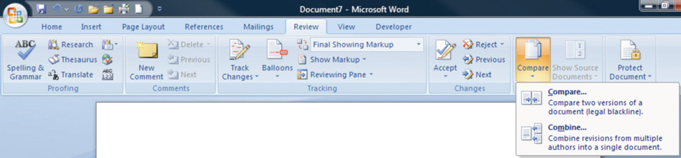 Compare Documents Feature