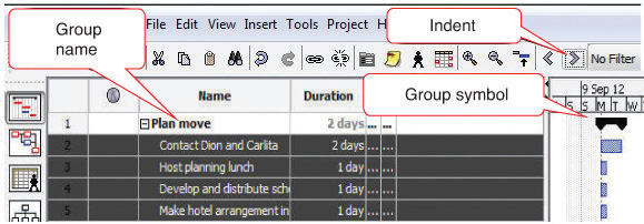 Group Defined by a group name, indent, and group symbol