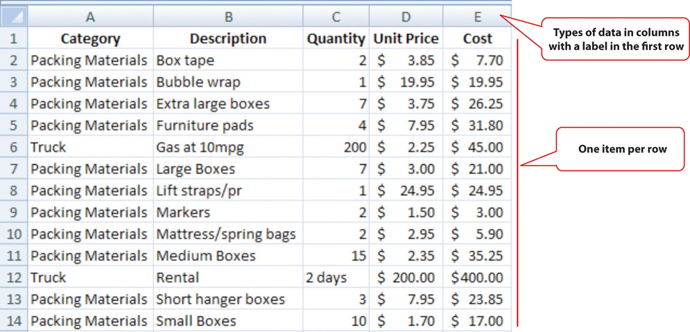 Expenses Arranged in a Table in a Spreadsheet. Types of data in columns are labeled in the first row with one item per row.