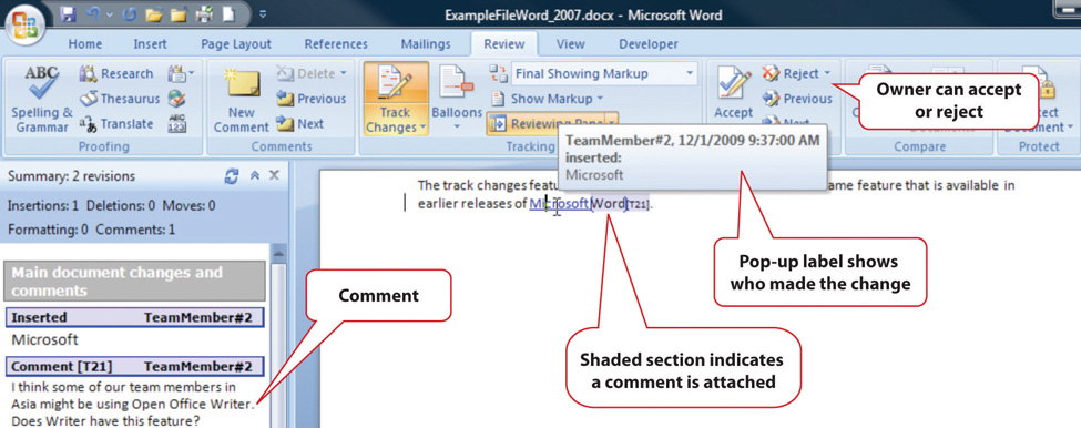 Tracking Changes and Adding Comments. The owner can accept or reject comments and pop-up labels show who made the change. The shaded section indicates a comment is attached, and they can be found in the left-side margin