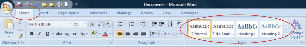 Style Choices in Microsoft word can be found in the