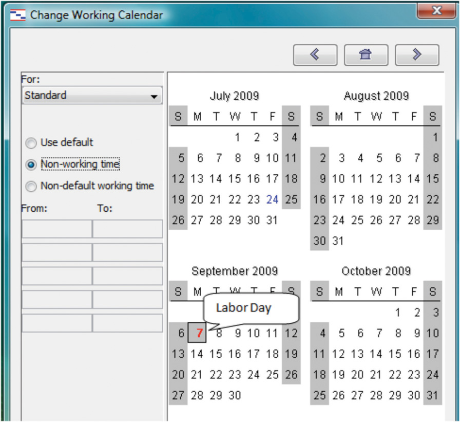Change Working Calendar.