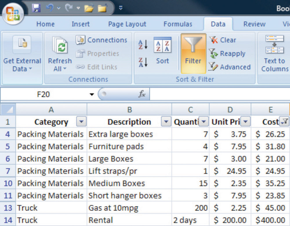 Sorting and Filtering in Microsoft Excel 2007