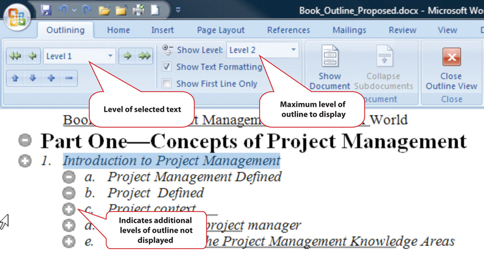 Outline View in MS Word 2007. You can choose the level of selected text and the maximum level of outline to display