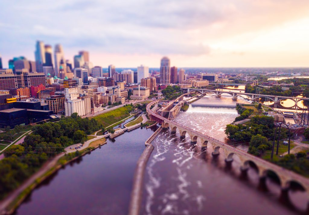 View of downtown Minneapolis and the Mississippi River