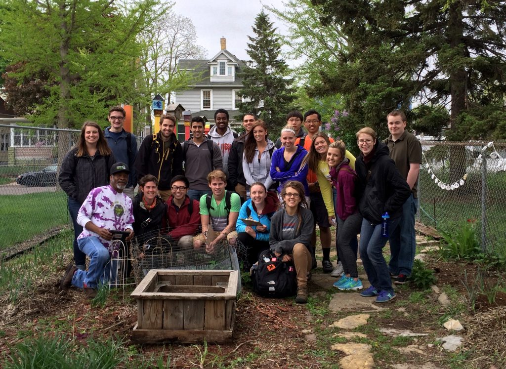 Design Equity Class with community leader and educator Melvin Giles at the Aurora St. Anthony Peace Garden in St. Paul. 2015