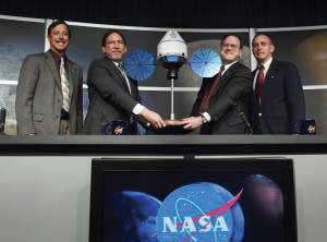 Men at NASA shaking hands