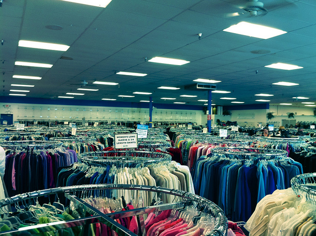 Racks upon racks of clothing in a Goodwill