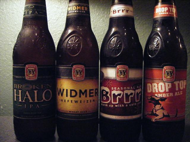 Widmer Brothers beer: Broken Halo, Hefeweizer, Brrr, and Drop Top