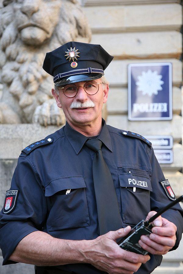 An elderly policeman