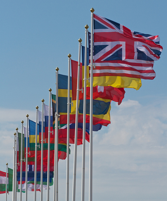 Various flags from participating countries