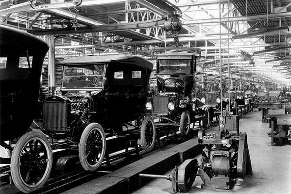 The Ford panel assembly line in Berlin Germany, cranking out the classic Model T