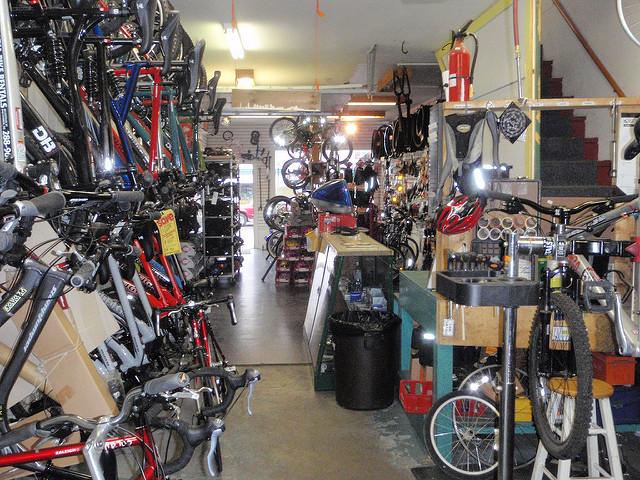 A variety of bikes at a bike shop