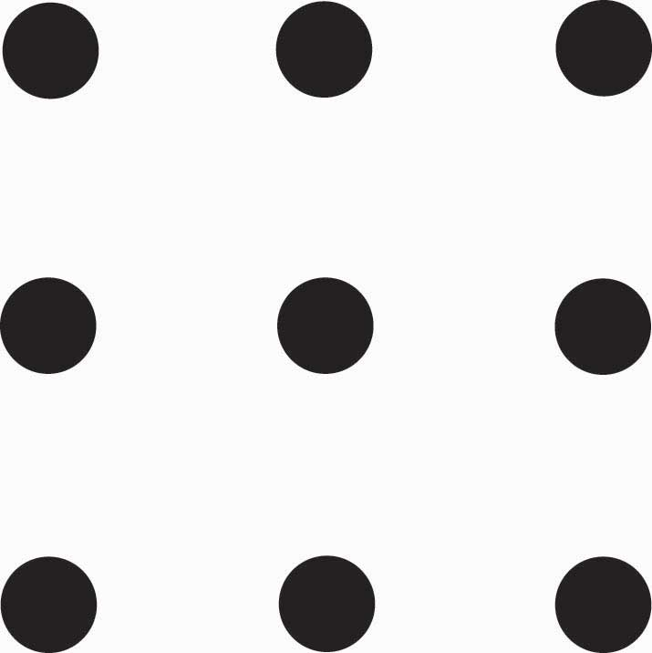 The nine dots problem showing 3 rows of 3 dots